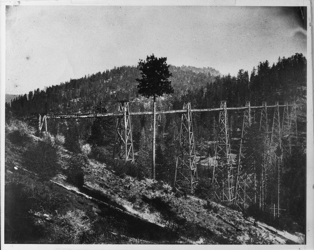 Big Gap Flume. Photo was taken between 1860 and 1868 on the southern end of the Big Gap Flume. Photo courtesy Tuolumne County Historical Society.